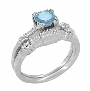 Art Deco Hearts and Clovers Sky Blue Topaz Solitaire Engagement Ring in Sterling Silver - Item SSR163BT - Image 2