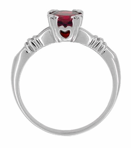 Art Deco Hearts and Clovers Ruby Solitaire Ring in Sterling Silver - Click to enlarge