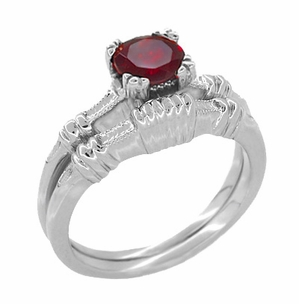 Art Deco Hearts and Clovers Solitaire Ruby Promise Ring in Sterling Silver - Item SSR163R - Image 2
