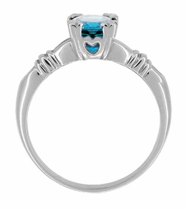 Art Deco Hearts and Clovers Swiss Blue Topaz Engagement Ring in Sterling Silver - Item SSR163WBT - Image 1