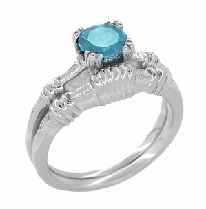 Art Deco Hearts and Clovers Swiss Blue Topaz Engagement Ring in Sterling Silver - Click to enlarge
