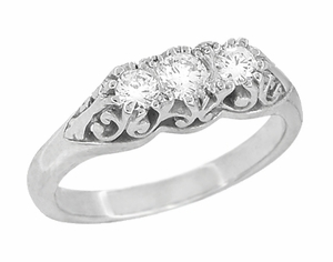 Art Deco Filigree Antique Style 3 Stone Diamond Ring in Platinum - Item R890P - Image 1