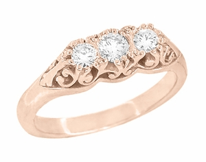 Art Deco Filigree 3 Stone Diamond Ring in 14 Karat Rose ( Pink ) Gold - Click to enlarge