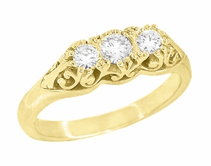 "Art Deco Filigree ""Three Stone"" Diamond Ring in 14 Karat Yellow Gold - Click to enlarge"