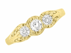 "Art Deco Filigree ""Three Stone"" Diamond Ring in 14 Karat Yellow Gold - Item R890Y - Image 3"