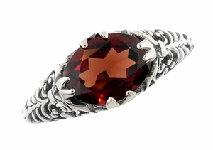 Edwardian Oval Almandine Garnet Filigree Ring in Sterling Silver - Item R1125G - Image 1