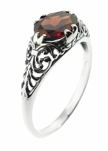 Edwardian Oval Almandine Garnet Filigree Ring in Sterling Silver - Item R1125G - Image 2