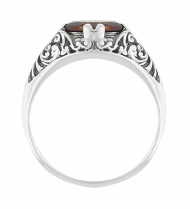 Edwardian Oval Almandine Garnet Filigree Ring in Sterling Silver - Click to enlarge