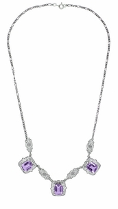 Art Deco Filigree Amethyst 3 Drop Necklace in Sterling Silver - Click to enlarge