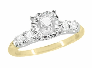 Mid Century Diamond Engagement Ring in 14 Karat White and Yellow Gold - Item R728D - Image 1