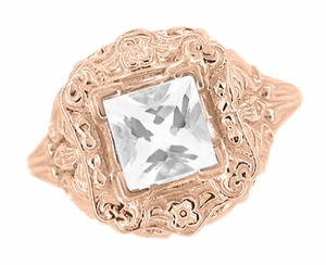 Princess Cut White Topaz Art Nouveau Ring in 14 Karat Rose Gold - Click to enlarge