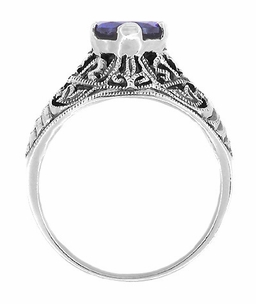Edwardian Filigree Iolite Ring in Sterling Silver - Click to enlarge