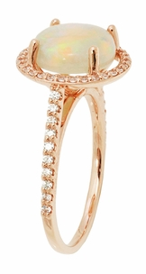 Translucent Opal Halo Ring in 14 Karat Rose Gold with Diamonds - Grisey's Ring - Item R1218RO - Image 2