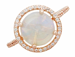 Translucent Opal Halo Ring in 14 Karat Rose Gold with Diamonds - Grisey's Ring - Item R1218RO - Image 3