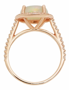 Translucent Opal Halo Ring in 14 Karat Rose Gold with Diamonds - Grisey's Ring - Click to enlarge