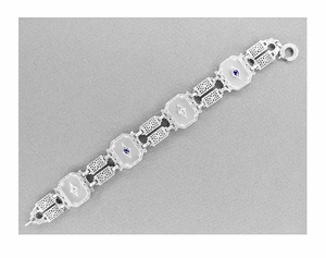 Art Deco Filigree Sun Ray Crystal Bracelet with Sapphires and Zircon in Sterling Silver - Click to enlarge
