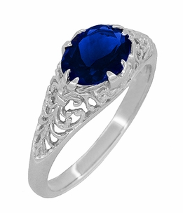 Filigree Edwardian Oval Blue Sapphire Engagement Ring in 14 Karat White Gold - Click to enlarge