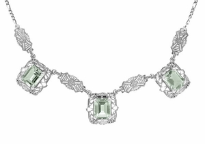 Art Deco Filigree Prasiolite ( Green Amethyst ) 3 Drop Necklace in Sterling Silver