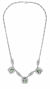 Art Deco Filigree Prasiolite ( Green Amethyst ) 3 Drop Necklace in Sterling Silver - Click to enlarge
