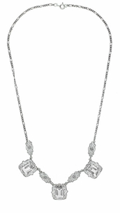 Art Deco Filigree White Topaz 3 Drop Necklace in Sterling Silver - Click to enlarge