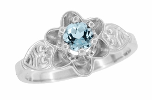 Flowers and Leaves Aquamarine Engagement Ring in 14 Karat White Gold - Item R373WA - Image 1
