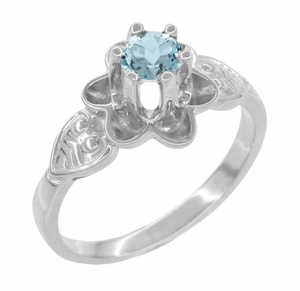 Flowers and Leaves Aquamarine Engagement Ring in 14 Karat White Gold - Item R373WA - Image 2
