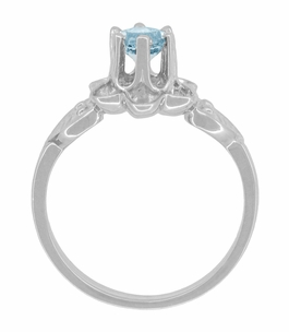 Flowers and Leaves Aquamarine Engagement Ring in 14 Karat White Gold - Item R373WA - Image 4