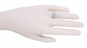 Art Deco Heart Blue Topaz and Diamond Filigree Ring in 14 Karat White Gold | Vintage Inspired - Item R1119BT - Image 4