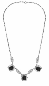 Art Deco Filigree Black Onyx 3 Drop Necklace in Sterling Silver - Click to enlarge