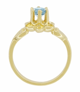 Flowers and Leaves Aquamarine March Birthstone Engagement Ring in 14 Karat Yellow Gold - Item R373YA - Image 4