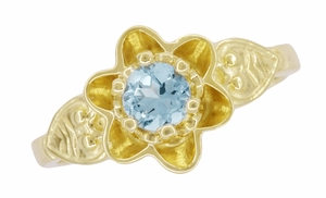 Flowers and Leaves Aquamarine March Birthstone Engagement Ring in 14 Karat Yellow Gold - Item R373YA - Image 5
