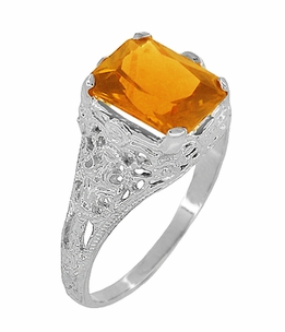 Edwardian Filigree Radiant Cut Citrine Ring in Sterling Silver - Item SSR618C - Image 1