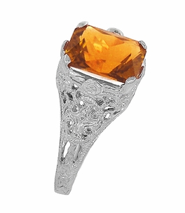 Edwardian Filigree Radiant Cut Citrine Ring in Sterling Silver - Click to enlarge