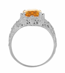 Edwardian Filigree Radiant Cut Citrine Ring in Sterling Silver - Item SSR618C - Image 3