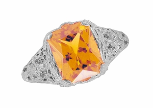 Edwardian Filigree Radiant Cut Citrine Ring in Sterling Silver - Item SSR618C - Image 4