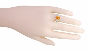 Edwardian Filigree Radiant Cut Citrine Ring in Sterling Silver - Item SSR618C - Image 5