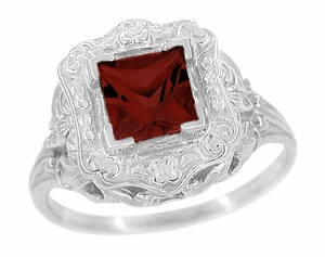 Princess Cut Garnet Art Nouveau Ring in Sterling Silver - Item SSR615G - Image 1