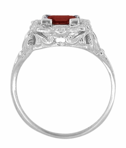Princess Cut Garnet Art Nouveau Promise Ring in Sterling Silver - Item SSR615G - Image 3