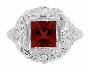 Princess Cut Garnet Art Nouveau Ring in Sterling Silver - Click to enlarge