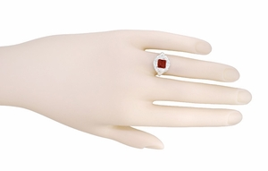 Princess Cut Garnet Art Nouveau Promise Ring in Sterling Silver - Item SSR615G - Image 5