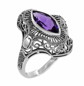 Art Deco Marquise Amethyst Filigree Cocktail Ring in Sterling Silver - Click to enlarge