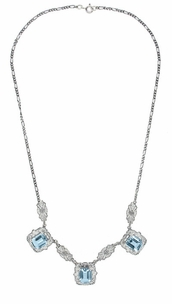 Art Deco Filigree Blue Topaz 3 Drop Necklace in Sterling Silver - Click to enlarge