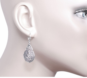 Art Deco Diamond Filigree Teardrop Dangling Earrings in Sterling Silver - Click to enlarge