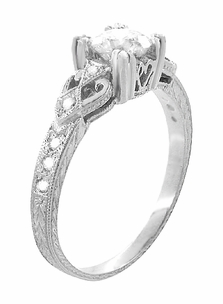 Art Deco Loving Hearts Antique Style Engraved 3/4 Carat Diamond Engagement Ring in 18 Karat White Gold - Click to enlarge