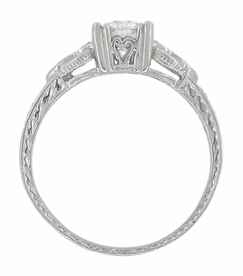 Art Deco Loving Hearts Antique Style Engraved 3/4 Carat Diamond Engagement Ring in 18 Karat White Gold - Item R459DR75 - Image 2