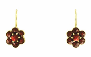 Small Bohemian Garnet Victorian Drop Earrings in 14 Karat Yellow Gold and Sterling Silver Vermeil