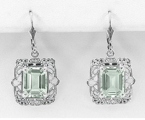 Art Deco Filigree Prasiolite Green Amethyst Drop Earrings in Sterling Silver - Item E154GA - Image 1