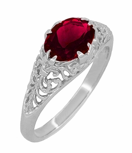 Oval Ruby Filigree Edwardian Engagement Ring in Sterling Silver - Item R1125R - Image 1