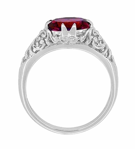 Oval Ruby Filigree Edwardian Engagement Ring in Sterling Silver - Item R1125R - Image 2