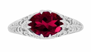 Oval Ruby Filigree Edwardian Engagement Ring in Sterling Silver - Item R1125R - Image 3